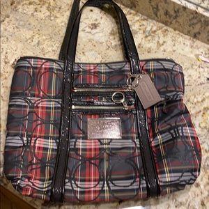 Coach tote bag. Plaid cloth black patent straps